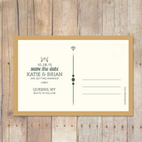 postcard back simple save the date postcard with vintage typography