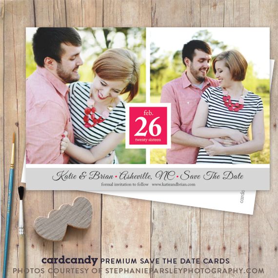 two photo save the date card with script typography