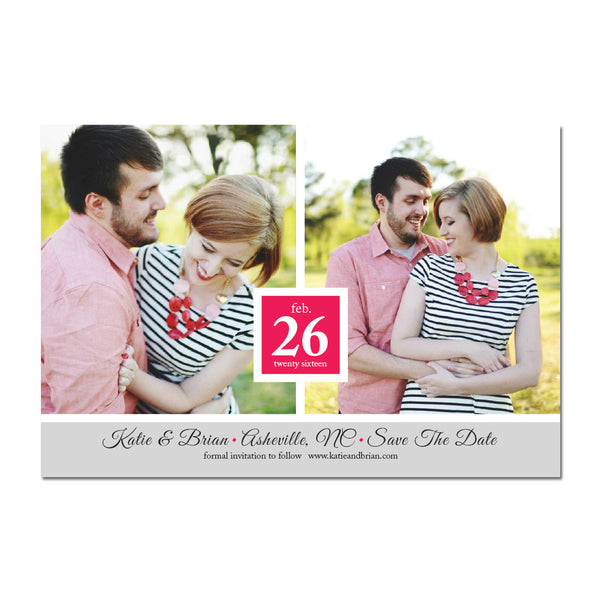 Double Photo Save The Date Magnet