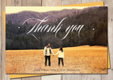 thank you postcard with bold script typography