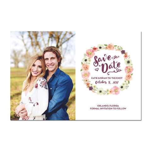 Floral Wreath Save The Date Magnet