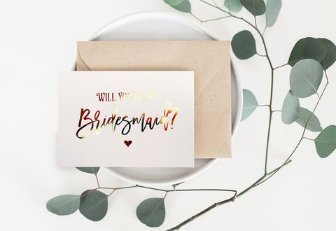 Gold Foil Will You Be My Bridesmaid Card - GBM-08