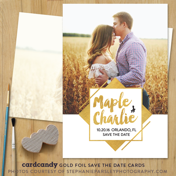 faux gold save the date card vintage