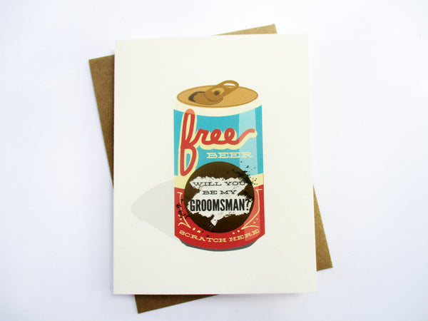 Scratch Off Will You Be My Groomsman Card - Free Beer (GGM 01)