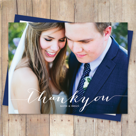 thank you postcard with script and serif typography bombshell