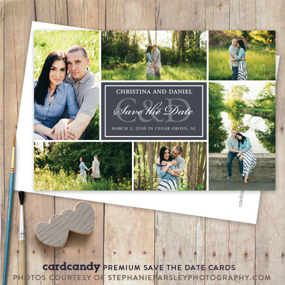 six photo save the date card