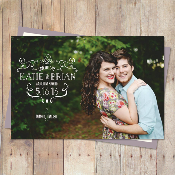 whimsical save the date card with vintage style typography