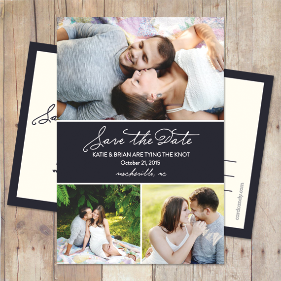 modern save the date card with script typography and three photos