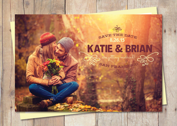 save the date card with stamped style design