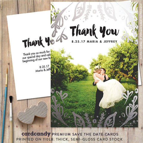 gold leaf silver leaf thank you card
