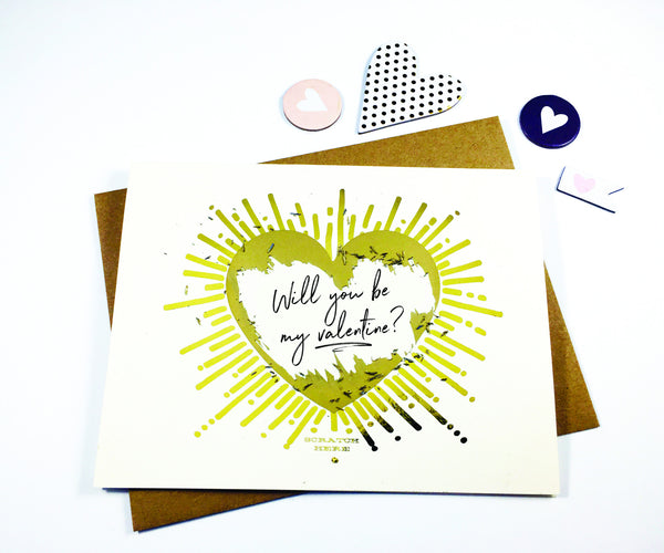 SIX PACK - Valentines Day Card, Scratch off Gold Foil Valentines Card