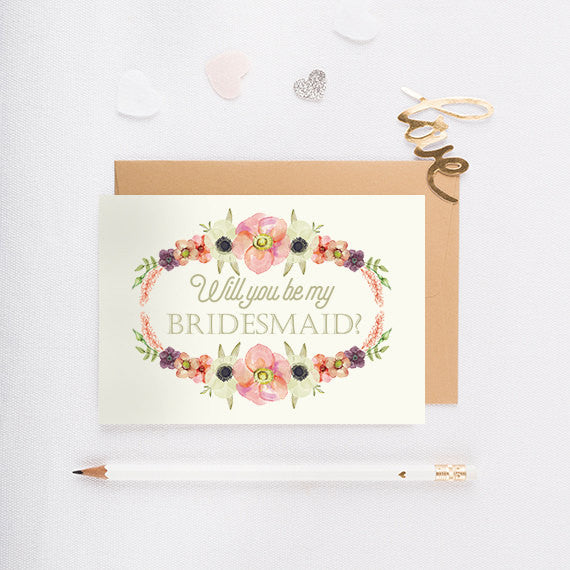 Wreath II - Will You Be My Bridesmaid Card