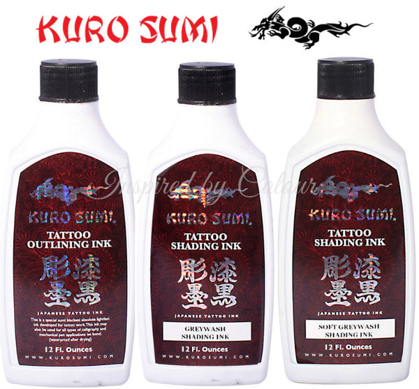 KURO SUMII 12oz Tattoo Ink Set (3) ●Outlining ●Greywash Shading ●Soft Greywash Shading