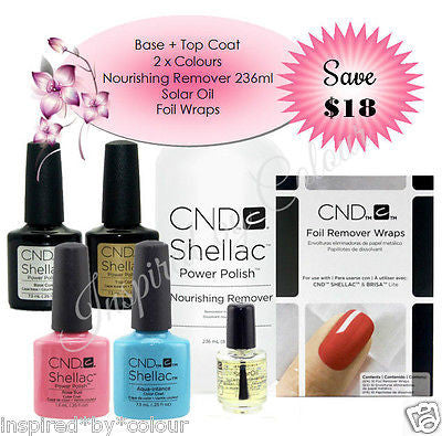 CND Shellac Power Polish x 4 + Nourishing Remover + Solar Oil + Foils (SAVE $18)