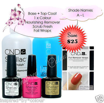 CND Shellac Power Polish x 3 + Scrub Fresh + Nourishing Remover + Foils (SAVE $25) Shades A - L