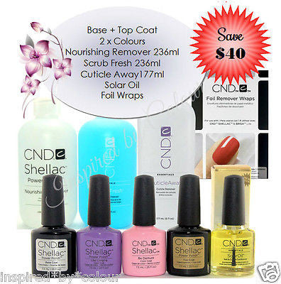 CND Shellac x 4  +Scrub Fresh +Nourishing Remover +Cuticle Away+Solar Oil+Foils