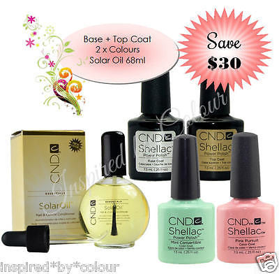 CND Shellac Power Polish x 4 + Solar Oil 68ml (SAVE $30)