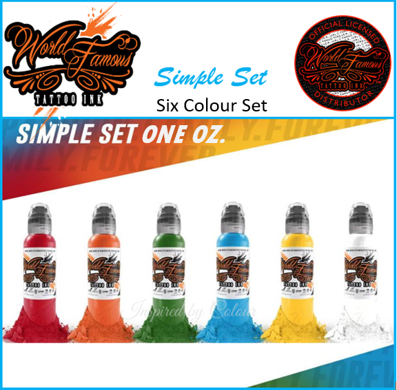 WORLD FAMOUS TATTOO INK ● 6 x 30ml ( 1oz) Bottle Simple Set ● Owned by Kuro Sumi