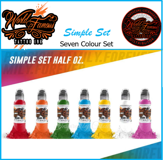 WORLD FAMOUS TATTOO INK ● 7 x 15ml ( ½oz) Bottle Simple Set ● Owned by Kuro Sumi