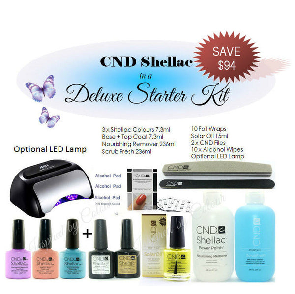 *CND Shellac Power Polish in a Deluxe Starter Kit ~ Select any Colours ~ Optional LED Lamp