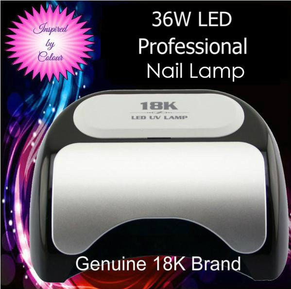 36W Black LED Lamp. Cures CND Shellac, Gelish Soak-Off gel, OPI Gelcolor etc.