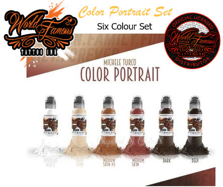 WORLD FAMOUS TATTOO INK ● 6 x 30ml (1oz) Bottle Color Portrait Set ● Owned by Kuro Sumi