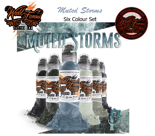 WORLD FAMOUS TATTOO INK ● 6 x 30ml (1oz) Bottle Muted Storms Set ● Owned by Kuro Sumi