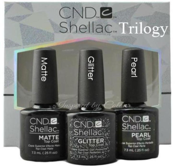 CND Shellac Power Polish ● TRILOGY COLLECTION ● Pearl, Matte & Glitter Top Coats ● 3 x  7.3ml