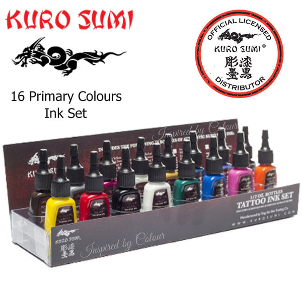 KURO SUMI 16 Primary Colour Premium Tattoo Ink Set #1 ● 1oz (30ml) + FREE 1oz Grey Wash