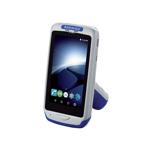 Joya™ Touch A6 Handheld Mobile Computer~Colors: Enclosure: Grey, Battery Cover: Blue, Pistol Grip: Blue; Healthcare: No; Form Factor: Pistol Grip; Scanner: 2D Imager: Red Illumination & Green Spot