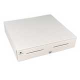 Series 4000 Cash Drawer: 1816~Drawer Front Style: Painted Front (color matched to case); Interface Type: Hardwired for Printer; Color: Cloud White; Size (W x D x H): 18.0in. x 16.7in. x 4.2in.; Options: Fixed 5x5 Till, Keyed Randomly