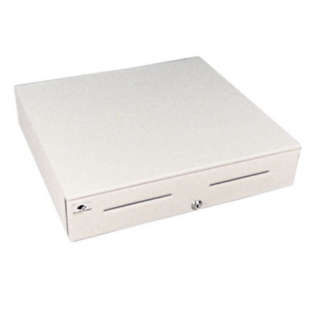 Series 4000 Cash Drawer: 1816~Drawer Front Style: Stainless Front; Interface Type: USBPRO™ HID End Node; Color: Cloud White; Size (W x D x H): 18.0in. x 16.7in. x 4.2in.; Options: Coin Roll Storage Till (standard), Keyed Randomly