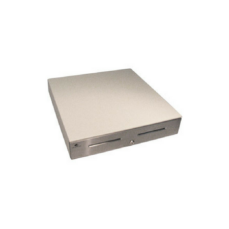 Series 4000 Cash Drawer: 1816~Drawer Front Style: Stainless Front; Interface Type: MultiPRO® 24 V; Color: Cloud White; Size (W x D x H): 18.0in. x 16.7in. x 4.2in.; Options: Fixed 5x5 Till, Keyed Randomly