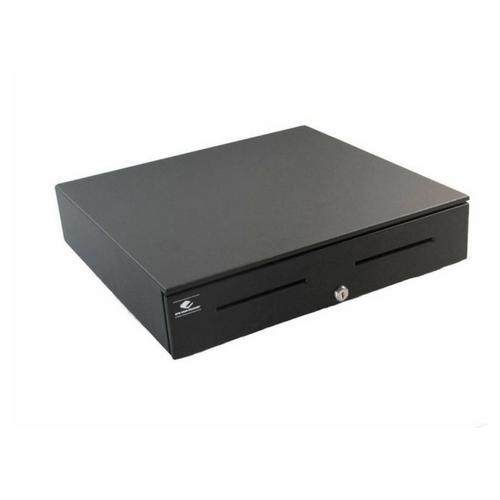 Series 4000 Cash Drawer: 1816~Drawer Front Style: Painted Front (color matched to case); Interface Type: MultiPRO®III Dual 12 V/24 V; Color: Black; Size (W x D x H): 18.0in. x 16.7in. x 4.2in.; Options: Fixed 5x5 Till, Keyed Randomly