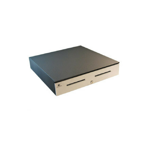 Series 4000 Cash Drawer: 1816~Drawer Front Style: Stainless Front; Interface Type: Hardwired for Printer; Color: Black; Size (W x D x H): 18.0in. x 16.7in. x 4.2in.; Options: Coin Roll Storage Till (standard), Keyed Randomly