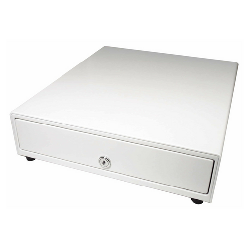 Vasario™ Series Cash Drawer: 1416~Drawer Front Style: Painted drawer front (non-media); Interface Type: SerialPRO® ll; Color: Beige; Size (W x D x H): 13.8in. x 16.3in. x 4.0in.; Options: Adjustable 4x5 Till (Standard), Keyed Randomly