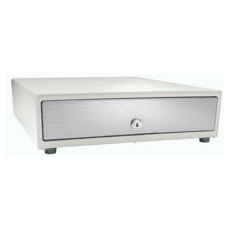 Vasario™ Series Cash Drawer: 1416~Drawer Front Style: Stainless front (non-media); Interface Type: MultiPRO® 24 V; Color: Black; Size (W x D x H): 13.8in. x 16.3in. x 4.0in.; Options: Adjustable 4x5 Till (Standard), Keyed Randomly