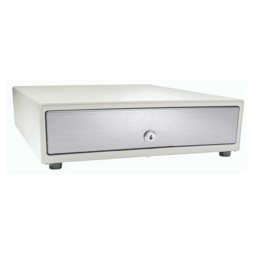 Vasario™ Series Cash Drawer: 1416~Drawer Front Style: Stainless front (non-media); Interface Type: MultiPRO® 24 V; Color: Beige; Size (W x D x H): 13.8in. x 16.3in. x 4.0in.; Options: Adjustable 4x5 Till (Standard), Keyed Randomly
