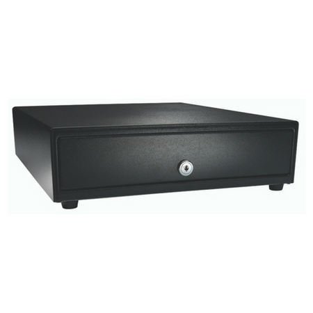 Vasario™ Series Cash Drawer: 1416~Drawer Front Style: Painted drawer front (non-media); Interface Type: Push Button; Color: Black; Size (W x D x H): 13.8in. x 16.3in. x 4.0in.; Options: Adjustable 4x5 Till (Standard), Keyed Randomly