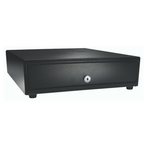 Vasario™ Series Cash Drawer: 1416~Drawer Front Style: Painted drawer front (non-media); Interface Type: MultiPRO® 24 V; Color: Black; Size (W x D x H): 13.8in. x 16.3in. x 4.0in.; Options: Adjustable 4x5 Till (Standard), Keyed Randomly