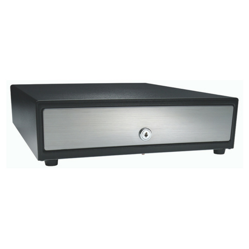 Vasario™ Series Cash Drawer: 1416~Drawer Front Style: Stainless front (non-media); Interface Type: SerialPRO® ll; Color: Black; Size (W x D x H): 13.8in. x 16.3in. x 4.0in.; Options: Adjustable 4x5 Till (Standard), Keyed Randomly