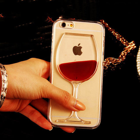 LOVECOM Hot Red Wine Glass Liquid Quicksand Transparent Phone Case Hard Back Cover For iPhone 4 4S 5 5S 5C 6 6S 7 Plus Housing