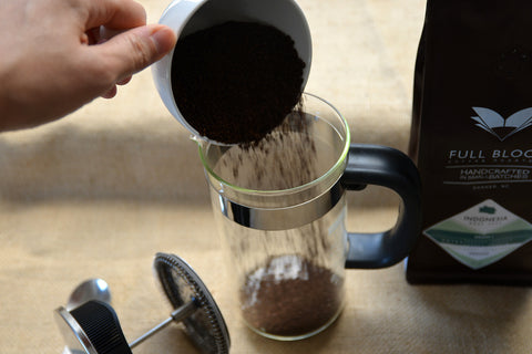 Add coffee grounds to French press