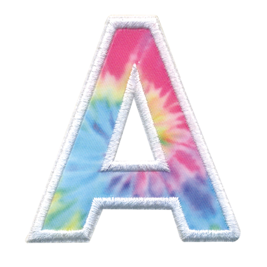 Initial Tie Dye Sticker Patches