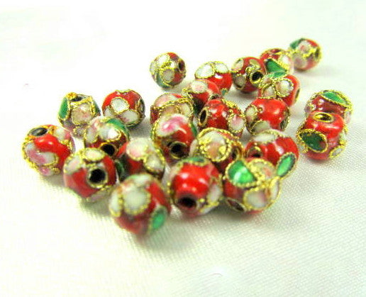 Red 6mm Round Cloisonne Flower Jewelry Beads-Jewelry Beads-15 beads-Odyssey Cache