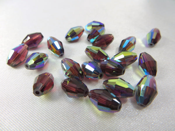 Burgundy AB 9mm x 6mm Swarovski #5500 Barrel Beads (6) - Odyssey Cache - 2