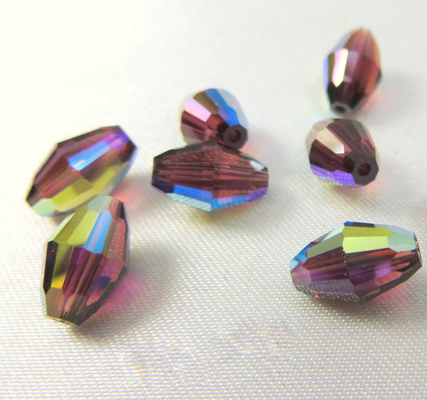 Burgundy AB 9mm x 6mm Swarovski #5500 Barrel Beads (6) - Odyssey Cache - 1