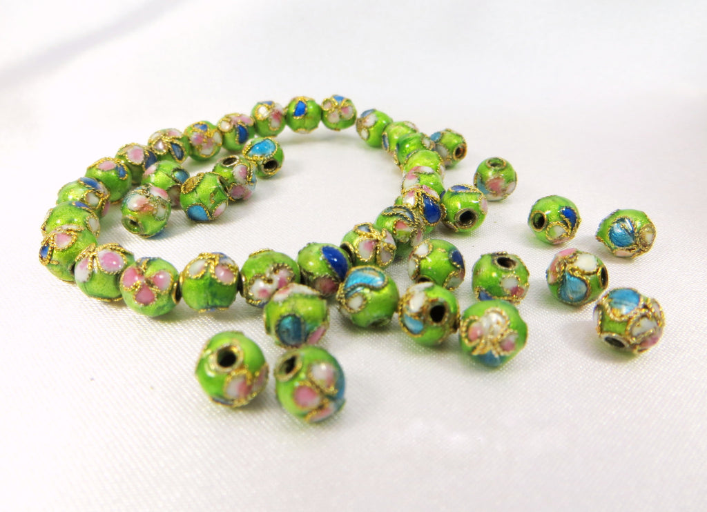 Lime Green 6mm Cloisonne Flower Beads (24)-Jewelry Beads-Odyssey Cache
