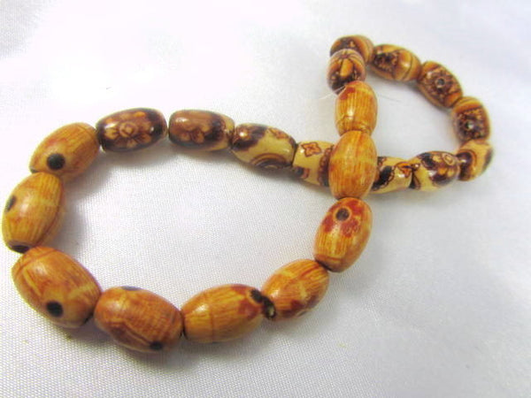 Sale 50% off - Tribal 8mm x 12mm Oval Wooden Beads with 3mm Large Holes (21 beads) - Odyssey Cache