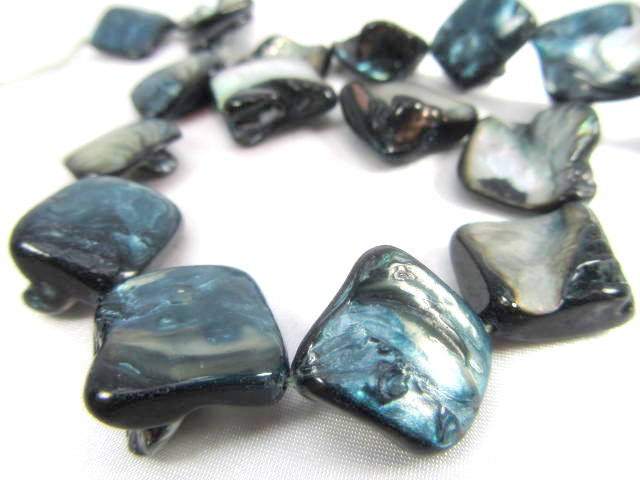 Dark Denim Blue Diagonally Drilled Mother of Pearl Nuggets - Odyssey Cache